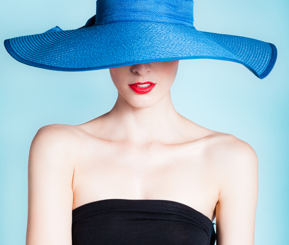 Portrait of elegant sexy woman with hat.